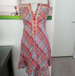 Vintage plaid picnic sun halter dress